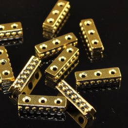 Findings - Separator/Connector - 3-Hole Beaded Bar - Antique Gold