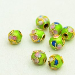 Cloisonne - 5mm Cherry Blossom Round - Lime (10)