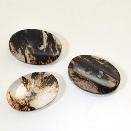 Stone Buttons - 2 Hole Oval Button - Moss Agate