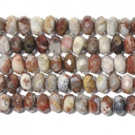 Stone Beads - 8mm Faceted Rondelles - Laguna Lace Agate (strand)