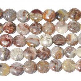 Stone Beads - 12mm Coin - Laguna Lace Agate (strand)