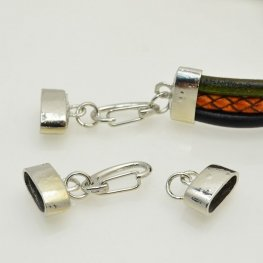 Findings - Round Leather - End Caps and Spring Clasp - Bright Silver