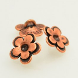 Metal Buttons - Cup Flower - Antiqued Copper