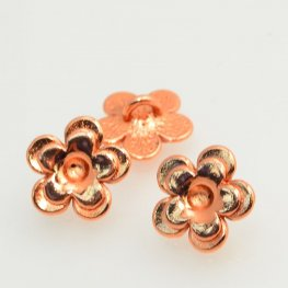 Metal Buttons - Cup Flower - Bright Copper