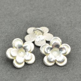 Metal Buttons - Cup Flower - Bright Silver