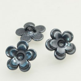 Metal Buttons - Cup Flower - Gunmetal