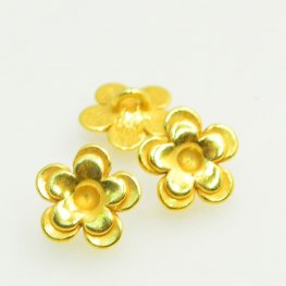 Metal Buttons - Cup Flower - Bright Gold Plated