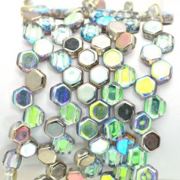 Czech Shaped Beads - 2-Hole Honeycombs - Transparent Graphite Rainbow (Strand of 30)
