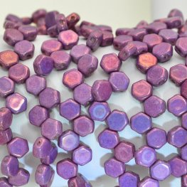 Czech Shaped Beads - 2-Hole Honeycombs - Purple Gold Lustre (Strand of 30)