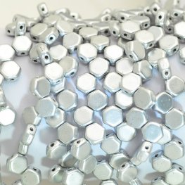 Czech Shaped Beads - 2-Hole Honeycombs - Silky Silver (Strand of 30)