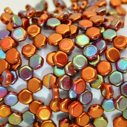 Czech Shaped Beads - 2-Hole Honeycombs - Copper Rainbow (Strand of 30)