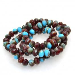 Firepolish - 9x6mm Faceted Donut Rondelles - Turquoise and Chocolate (strand 25)