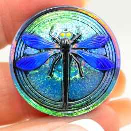 Czech Glass Button - 30mm Embossed Dragonfly - Sky Pilot