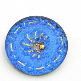 Czech Glass Button - 32mm Spiral Stairs - Sapphire Blue