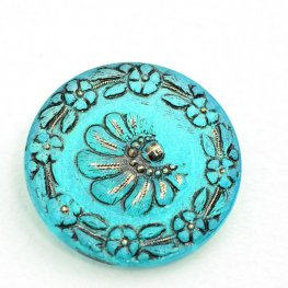 Czech Glass Button - 32mm Spiral Stairs - Antiqued Turquoise Blue