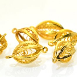 Metal Link - Filigree Oval - Gold Plated