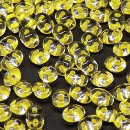 Czech Seedbeads - 2-Hole MiniDuos - Crystal Yellow Lined