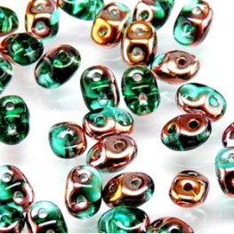 Czech Seedbeads - 2-Hole MiniDuos - Emerald Capri Gold