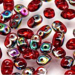 Czech Seedbeads - 2-Hole MiniDuos - Ruby Vitrail