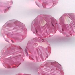 Swarovski Bead - 6mm Faceted Round (5000) - Rose (10)