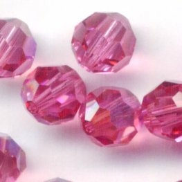 Swarovski Bead - 6mm Faceted Round (5000) - Rose AB (10)