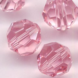 Swarovski Bead - 8mm Faceted Round (5000) - Light Rose (6)