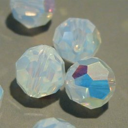 Swarovski Bead - 8mm Faceted Round (5000) - White Opal AB (6)