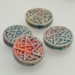 Ceramic Bead - Pentagram Star - Raku