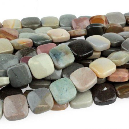 Stone Beads - 12mm Square - Polychrome Jasper (strand)