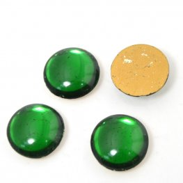 Vintage Glass - 16mm Round Cabochon - Emerald Green