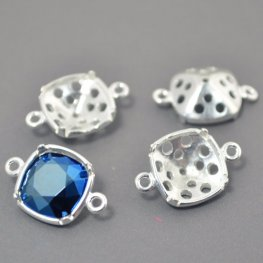 Findings - Stone Mount - ID 10mm Square Turtleback Link - Bright Silver
