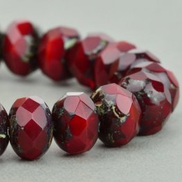 Czech Glass - 9x6mm Faceted Donut Rondelle - Red Opal Picasso (25)