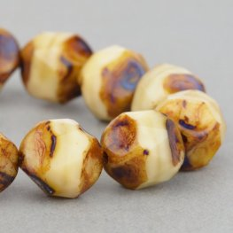 Firepolish Beads Central Cut 9mm - Antique Ivory (15)
