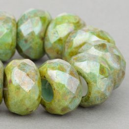 Czech Glass - Big Hole Faceted Rondelle Donut - Greenstone Luster (5)