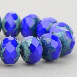 Czech Glass - 9x6mm Faceted Donut Rondelle - Cobalt Picasso (25)