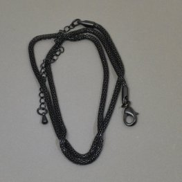 Finished Chain - 16in Woven Wire Chain - Black