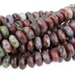 Stone Beads - 8mm Faceted Rondelles - Red Lightning Agate (strand)