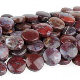 Stone Beads - 12mm Coin - Red Lightning Agate (strand)