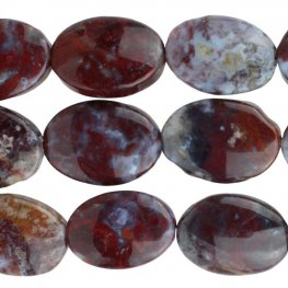 Stone Beads - 10x14mm Oval - Red Lightning Agate (strand)