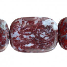 Stone Beads - 30x40mm Rectangle - Red Lightning Agate