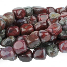 Stone Beads - 8x10mm Tumbled Nugget - Red Lightning Agate (strand)