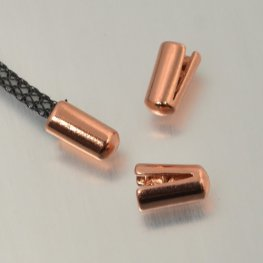 Findings - 2mm Round Leather - ID 2mm End Cap (No Loop) - Bright Copper (10)