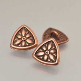 Metal Buttons - Flower Shield - Antiqued Copper