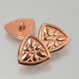 Metal Buttons - Flower Shield - Bright Copper