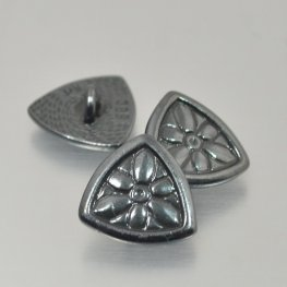 Metal Buttons - Flower Shield - Gunmetal