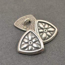 Metal Buttons - Flower Shield - Antiqued Silver