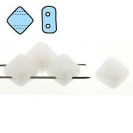 Czech Glass Beads - 2 Hole Silky Beads - White Alabaster (Strand)