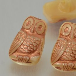 Czech Glass Button - 12mm Startled Owl - Ivory Copper Wash