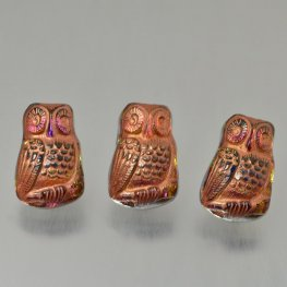 Czech Glass Button - 12mm Startled Owl - Volcano Copper Wash
