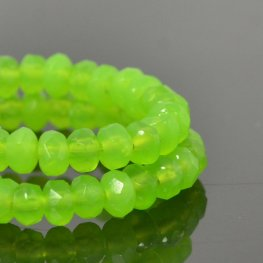 Czech Firepolish Glass - 5x3mm Faceted Donut Rondelle - It's a Lime (Strand 30)